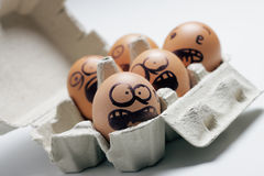 Funny eggs with facial expression Royalty Free Stock Images