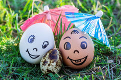 Funny eggs imitating happily smiling mixed couple with versicolo Royalty Free Stock Images