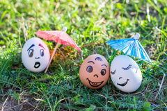 Funny eggs imitating versicolored couple and indignant white one Stock Images