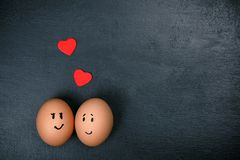 Funny eggs in love Royalty Free Stock Images