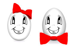 Funny eggs with red bows Royalty Free Stock Photo
