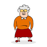 Funny elderly lady with glasses. Grandmother standing. Colorful Stock Image