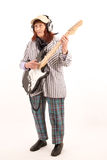 Funny elderly lady playing electric guitar Stock Photo