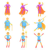 Funny elderly men in superman costume, old superhero in action cartoon characters set of vector Illustrations Stock Photography