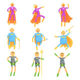 Funny elderly men in superman costume, old superhero in action cartoon characters   Royalty Free Stock Images