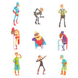 Funny elderly superman cartoon characters in action set of vector Illustrations Royalty Free Stock Images