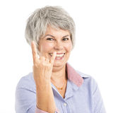 Funny elderly woman stock photos