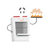 Funny electric cooker character with smiling face, humanized home electrical equipment vector Illustration. On a white background Stock Images
