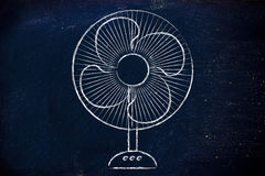 Funny electric fan illustration, keep cool and stay fresh in the Royalty Free Stock Image