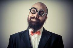 Funny elegant bearded man Stock Images