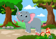 Funny elephant with a background of a beautiful garden Stock Image