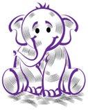 Funny elephant. Brush stroke funny elephant cartoon image Royalty Free Stock Photography