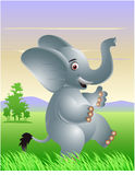 Funny elephant cartoon. Vector illustration of Elephant with African savannah background Stock Photo