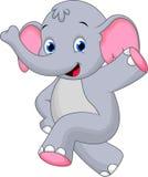 Funny elephant cartoon. Adorable elephant dancing and lifting one hand Stock Photos