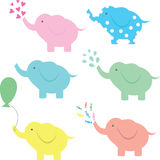 Funny elephant cartoon collection. Cute vector elephant collection with hearts, water, balloon and candies Stock Photography