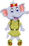 Funny elephant cartoon with safari uniform. Illustration of funny elephant cartoon with safari uniform Royalty Free Stock Images