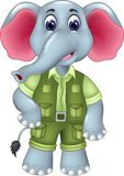 Funny elephant cartoon standing with smile and waving. Vector illustration of funny elephant cartoon standing with smile and waving Stock Photography