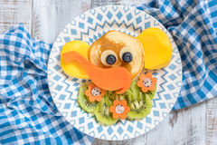 Funny elephant pancakes for kids breakfast Stock Photography