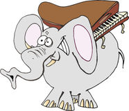 Funny elephant with piano. On it Royalty Free Stock Photo