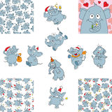 Funny elephants and seamless backgrounds Stock Images