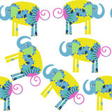 Funny elephants seamless pattern. It is located in swatch menu,. Vector  illustration. Colorful image Royalty Free Stock Photos