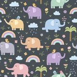 Funny elephants seamless pattern Royalty Free Stock Images