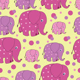 Funny elephants. Zoo. Vector image. Seamless pattern with funny pink elephants from silhouettes and dots. Cute Wallpapers for babies and children. The Royalty Free Stock Image