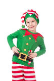 Funny elf grimacing. Funny and adorable elf grimacing on isolated white stock photos