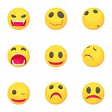 Funny emoji icons set, cartoon style. Funny emoji icons set. Cartoon set of 9 funny emoji vector icons for web isolated on white background Royalty Free Stock Photography