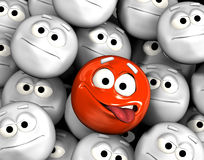 Funny emoticon face. Showing tongue among other grey, neutral, indifferent faces royalty free illustration