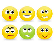 Funny emoticon faces. Express your feelings with Emoticons; a set of 6 various Emoticons isolated over white background Stock Photo