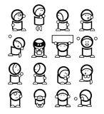 Funny emoticons. Set of 16 simple black and white graphical emoticons (AI8 included Royalty Free Stock Photo
