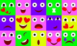 Vector flat emotions icon set royalty free illustration