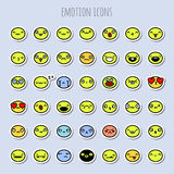 Funny emotion icons. Set of cute and funny emotion icons Royalty Free Stock Image