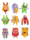 Funny Emotional Cartoon Monsters, Vector Stock Images