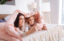 Funny emotional friends taking a selfie Stock Photography