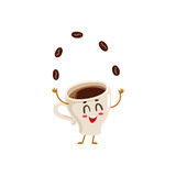 Funny energetic espresso cup character juggling coffee beans Royalty Free Stock Photos