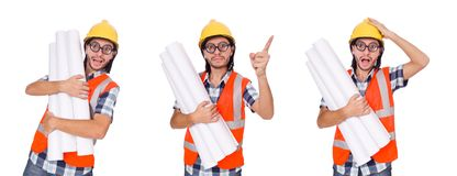The funny engineer isolated on the white white Royalty Free Stock Photography