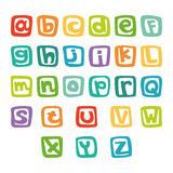 Funny english alphabet, hand drawn alphabet in colorful squares Royalty Free Stock Images