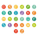Funny english alphabet. Hand drawn chalk like alphabet in colorful circles. Royalty Free Stock Image