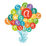 Funny english alphabet, hand drawn chalk like in colorful air baloons Royalty Free Stock Images