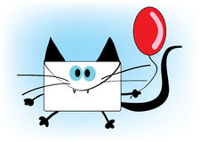 Funny envelope cat with red balloon. Vector image of funny envelope-shaped cat Stock Image