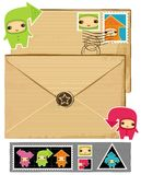 Funny envelope and stamps. Royalty Free Stock Photos