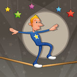 Funny equilibrist is walking on the tightrope. Cartoon and vector illustration Royalty Free Stock Image