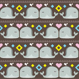 Funny ethnic simple whales pattern Stock Images