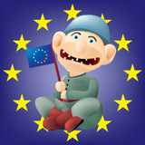 Funny Euro soldier. Layered and grouped illustration for easy editing Royalty Free Stock Photos
