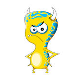 Funny evil monster. One yellow funny evil monster Royalty Free Stock Image