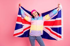 Free Funny Exchange Student Lady Making Photos With Flag Wear Warm Colored Coat Isolated Pink Background Stock Image - 160819291
