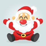 Funny excited cartoon Santa claus  sitting. Vector Christmas illustration. Funny excited cartoon Santa claus  sitting. Vector Christmas illustration Stock Photo
