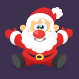 Funny excited cartoon Santa claus  sitting. Vector Christmas illustration. Funny excited cartoon Santa claus  sitting. Vector Christmas illustration Royalty Free Stock Photography